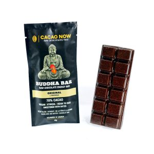 Buddha Bar raw chocolate bar, packaged and unpackaged chocolate bar